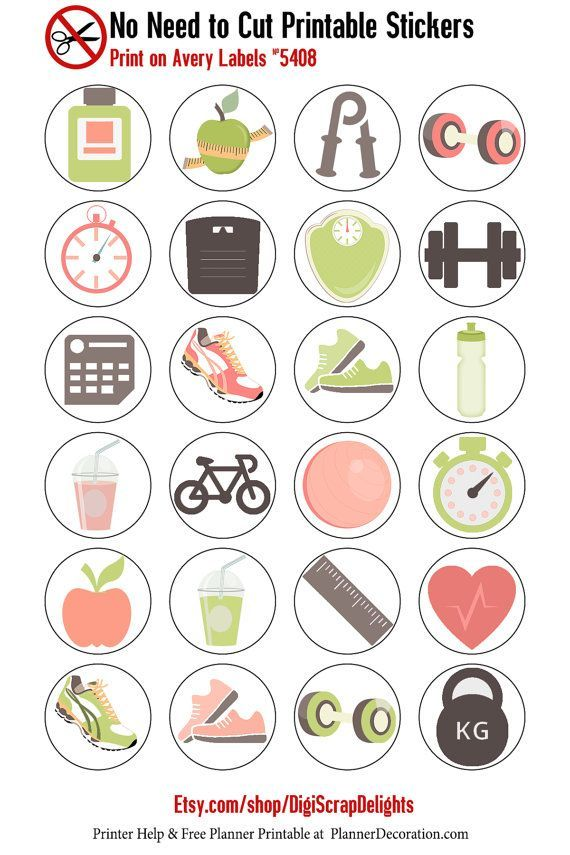 Exercise icons no cut needed printable planner stickers print on avery label 5408 this listing