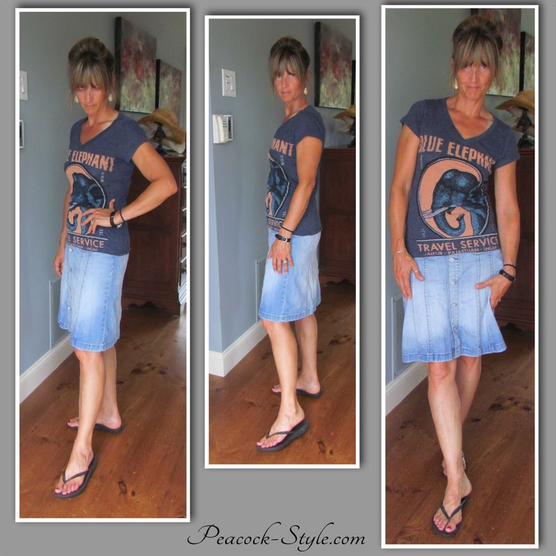 #fashionOver40 jean skirt