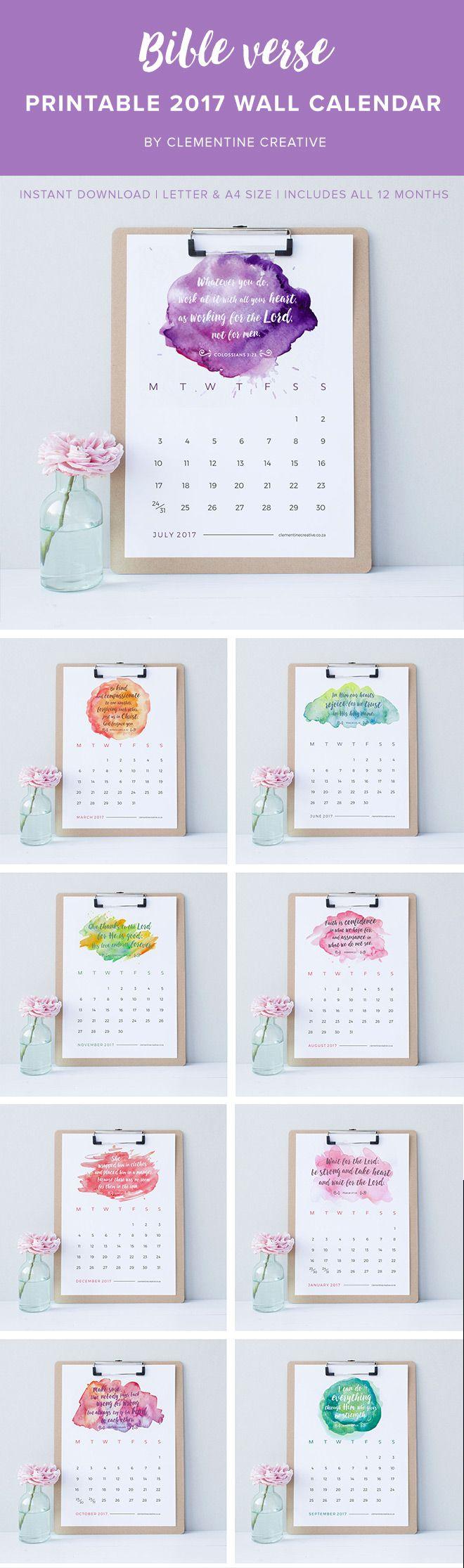 Printable 2017 Wall Calendar - Bible Verses   Workspaces, Bible ...