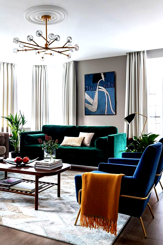 Bright Emerald Green Sofa For The Living Room In White From In 2020 Minimalist Living Room Decor Living Room Green Contemporary Living Room Design