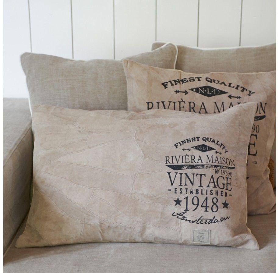 riviera maison sierkussen vintage 48 suede pillow 65x45 cm