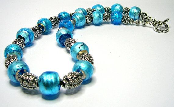 Handmade Necklaces Chunky Oriental Turquoise Blue by SwankyJewels, €61.00