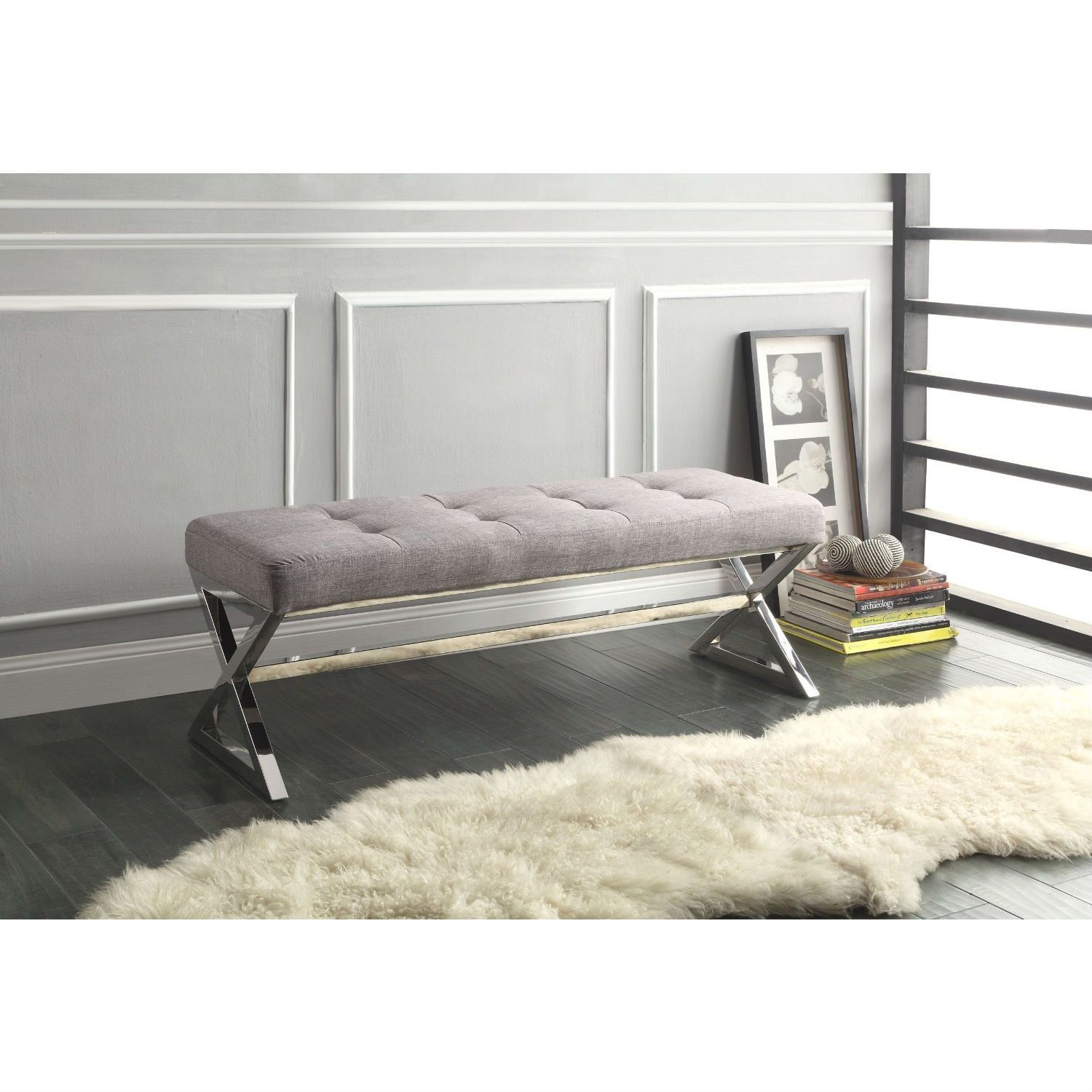 Modern Living Room Metal Bench With Button Tufted Grey Linen Seat Furniture Bedroom Furniture Grey Furniture