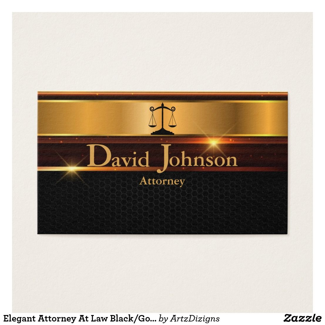 Elegant Attorney At Law Black/Gold Business Cards | Business pens ...