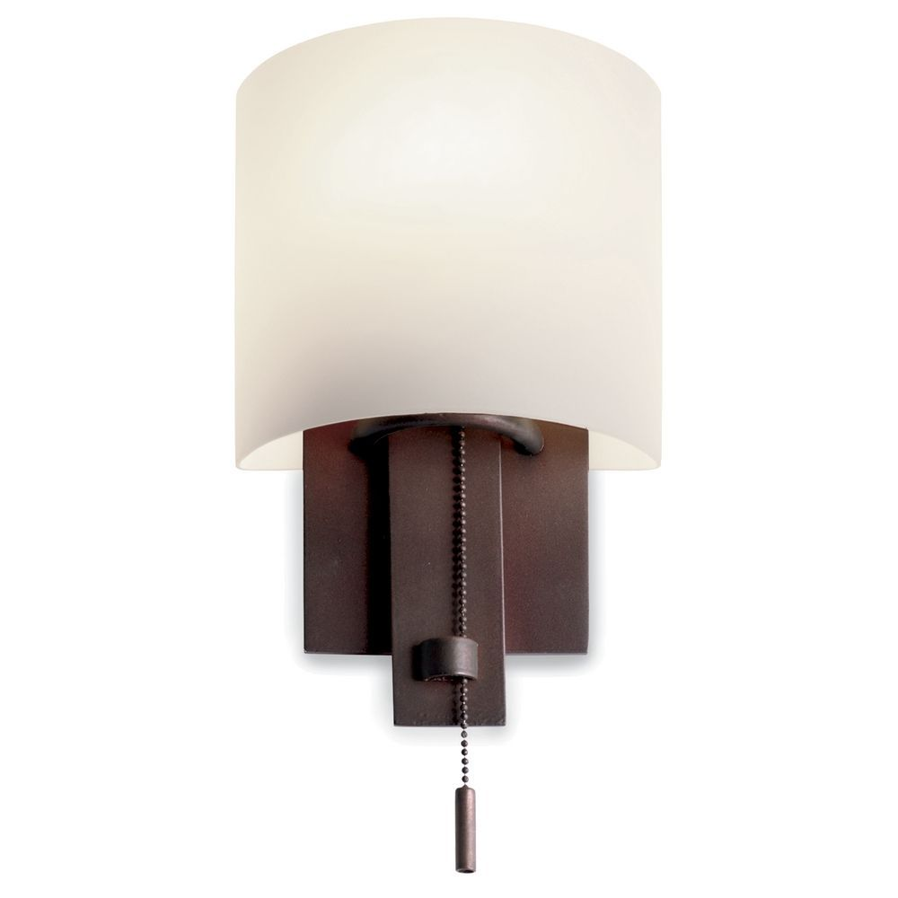 Zen Bathroom Lighting Fixtures bronze wall sconce with satin nickel pull-chain | bronze wall
