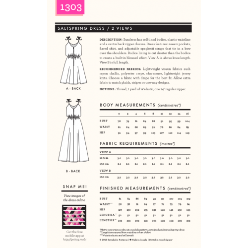 Schnittmuster: 1303 Saltspring Dress