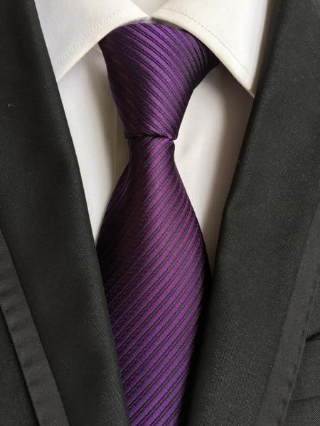Men Fashion Silk Tie Wedding Slim Classic Stripes Necktie Plain Satin Color Tie
