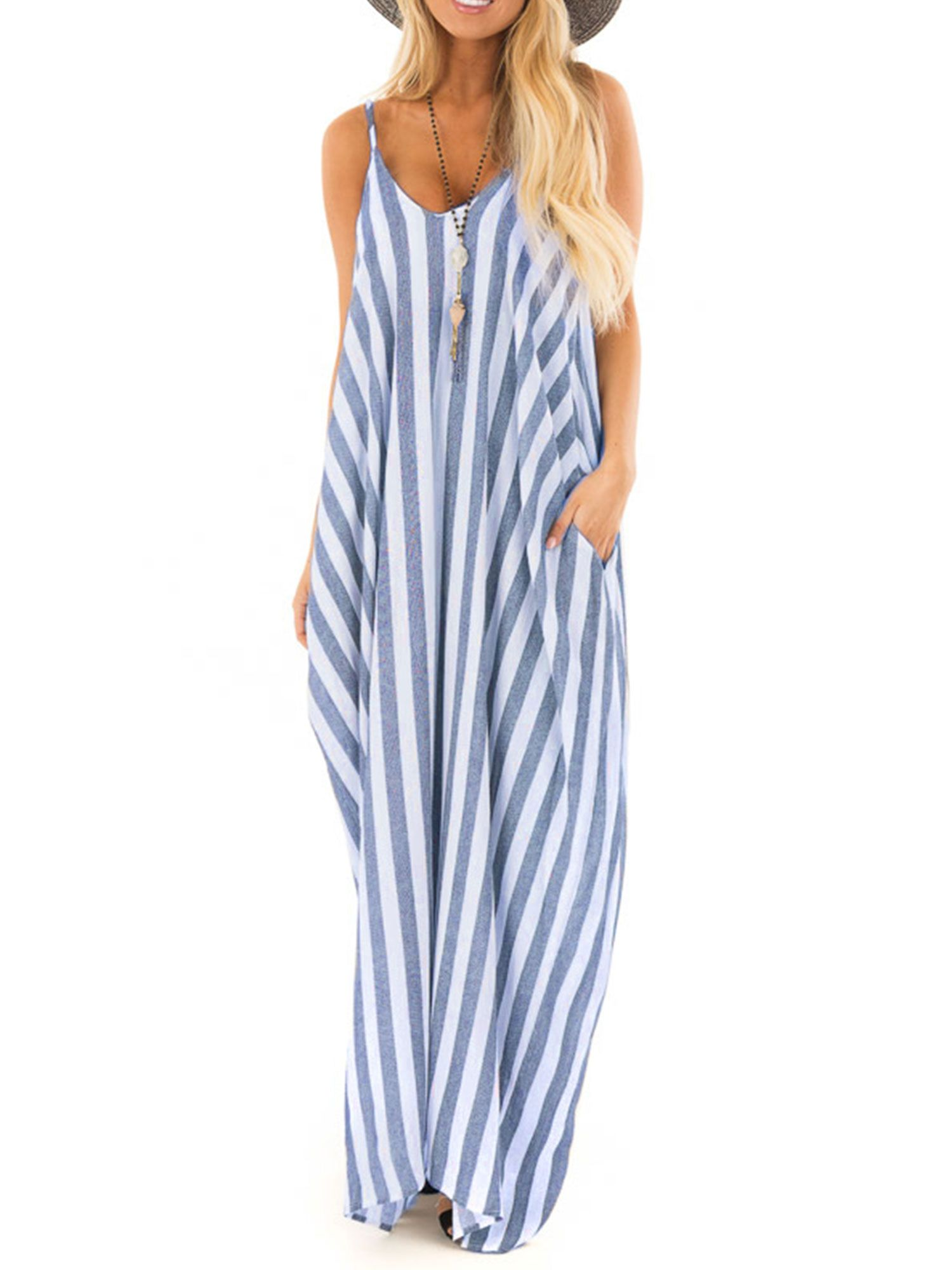 Himone Summer Holiday Women Strappy Cami Striped Long Boho Dress Ladies Beach Maxi Sundress Walmart Com Maxi Dress Boho Dresses Long Boho Dress [ 2000 x 1500 Pixel ]