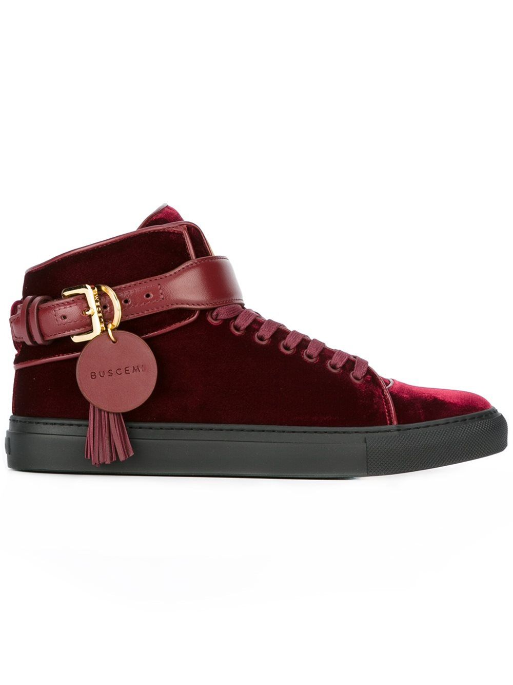Buscemi Woman Studded Fringed Leather High-top Sneakers Burgundy Size 35 Buscemi ez4JR7mK