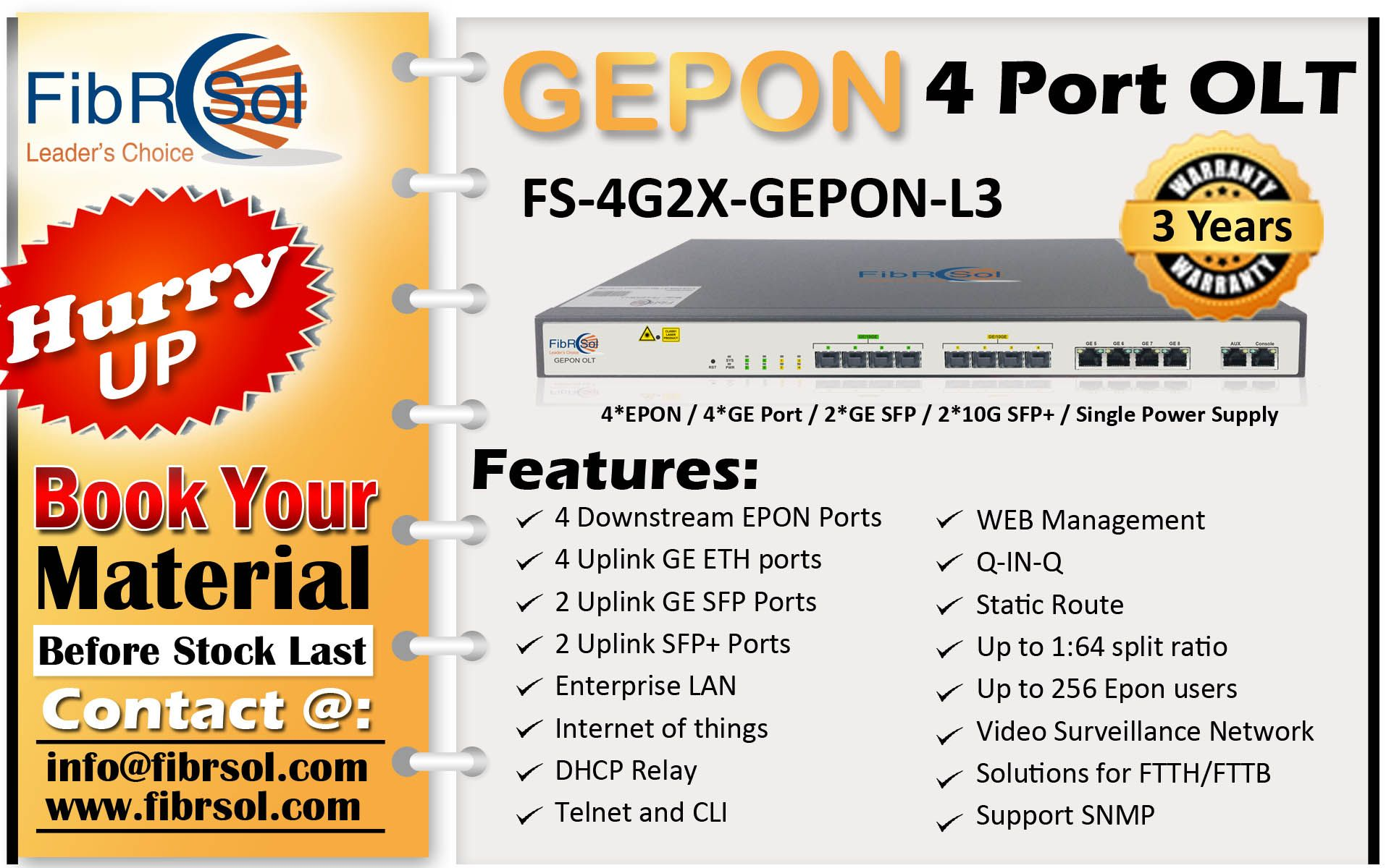Fibrsol S Gepon 4 Port Olt In 2020 Fiber Patch Cord Port Power Supply