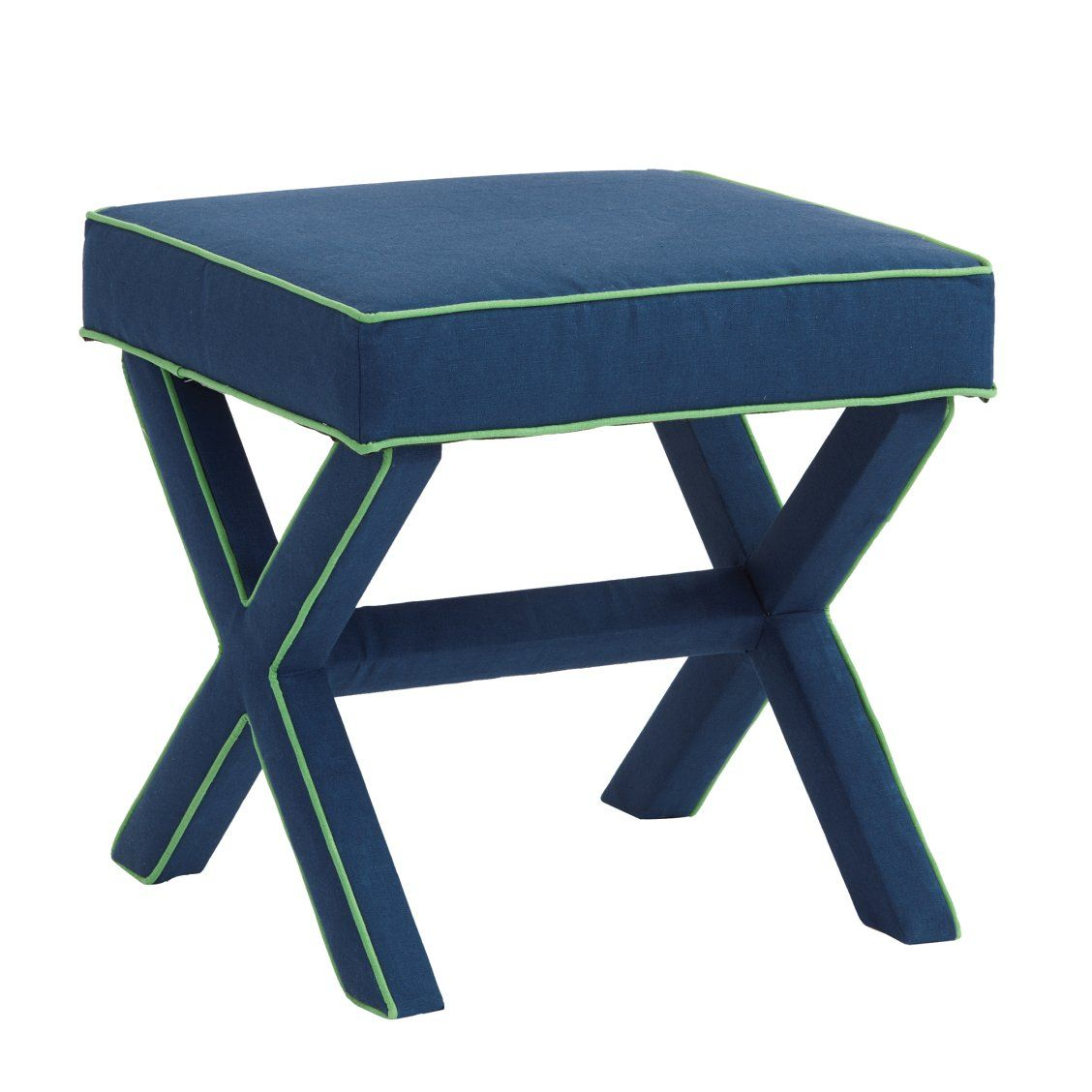 X Bench In Blue Green Linen X Bench Blue Ottoman Bench