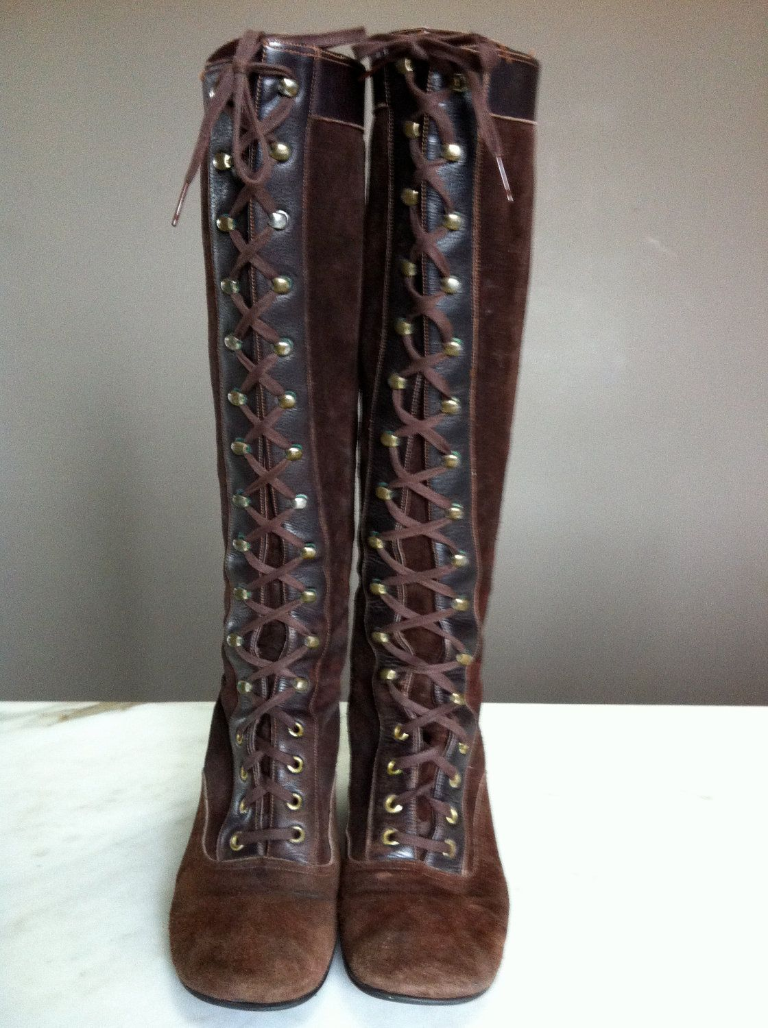 6524790272b Vintage Brow Suede Lace Up Knee High Boots - Circa - 60s -70s. $38.00, via  Etsy.