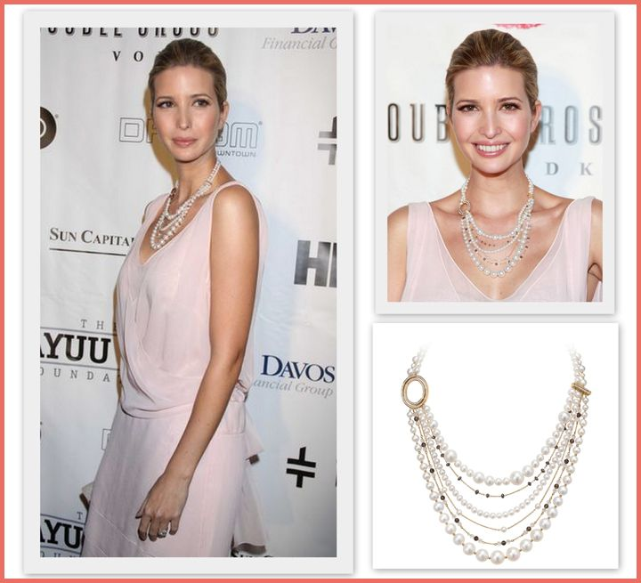 Ivanka at The Wayuu Taya Foundation dinner supporting a good cause and wearing her multi strand necklace in 18k yellow gold from the Signature Collection. May 21st, 2012