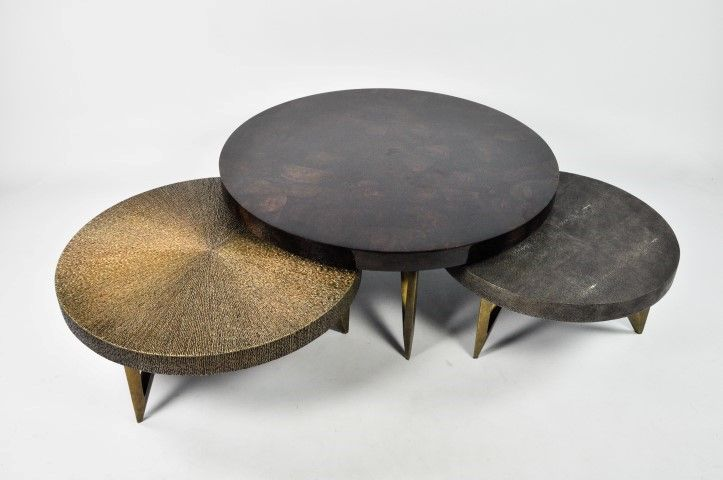 Bruine Side Table.Ginger Brown Set Table Shagreen Table Vegetal Marquetery