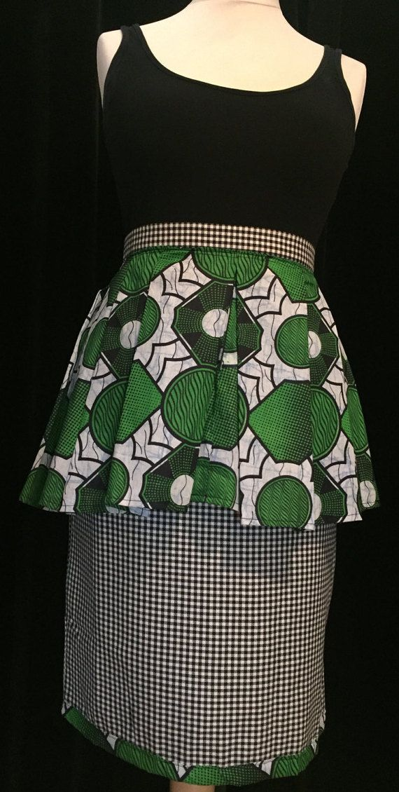 Size 14 uk black and white check pencil skirt with green and white african print peplum