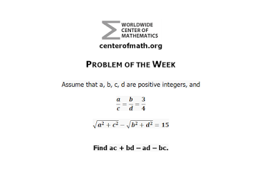The Center of Math Blog: Problem of the Week | Algebra, Geometry