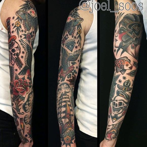 Traditional Tattoo Sleeve, Oldschool Tattoo Sleeve by Joel Soos  https://instagram.com/joel_soos/