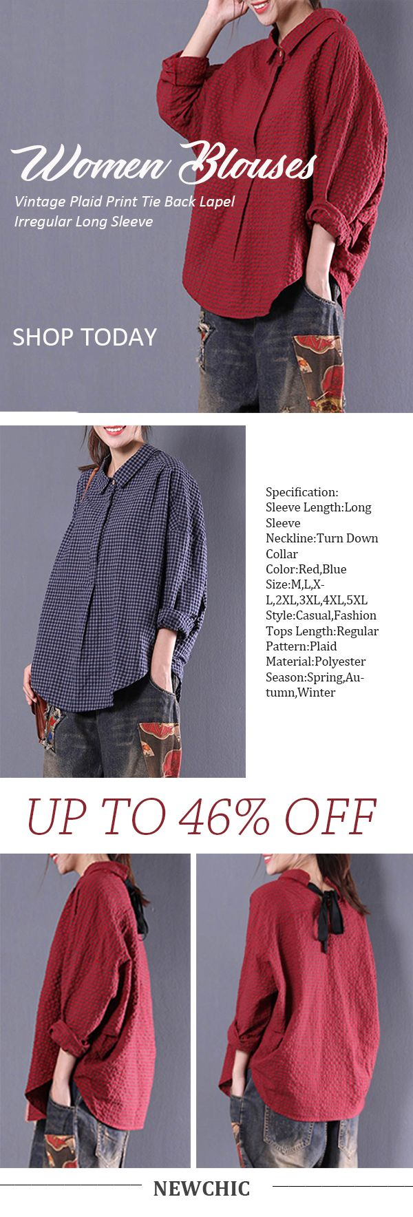 de80308a4f8a5  Newchic Online Shopping  46%OFF Women s Vintage Irregular Plaid Blouses  with Long Sleeve