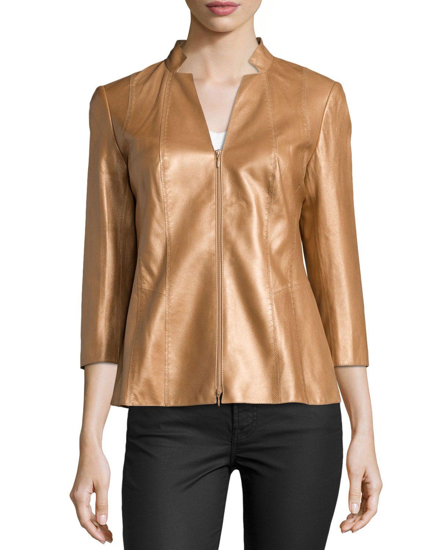 Tara Three-Quarter Sleeve Leather Jacket, Copper (Brown), Women's, Size: 2 - Lafayette 148 New York