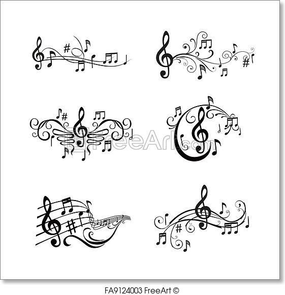 free art print of set of musical notes illustration in vector stencils music tattoos. Black Bedroom Furniture Sets. Home Design Ideas