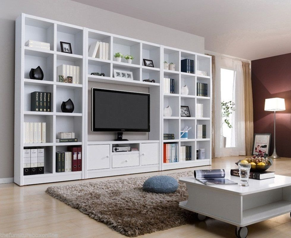 Modern White Tv Wall Unit Bookcase Shelf Entertainment Cabinet