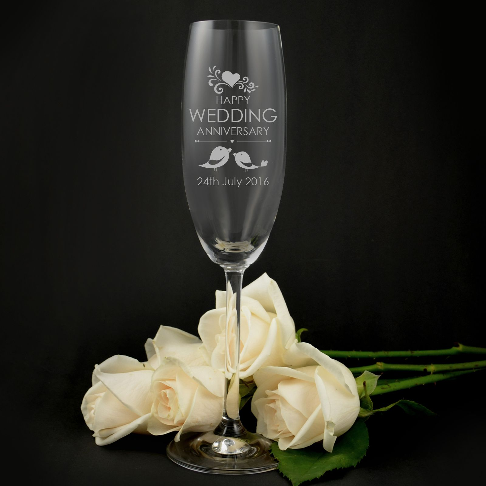 Engraved Anniversary Champagne Glasses