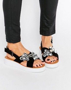 London Rebel Jewel Trim Flatform Sandal