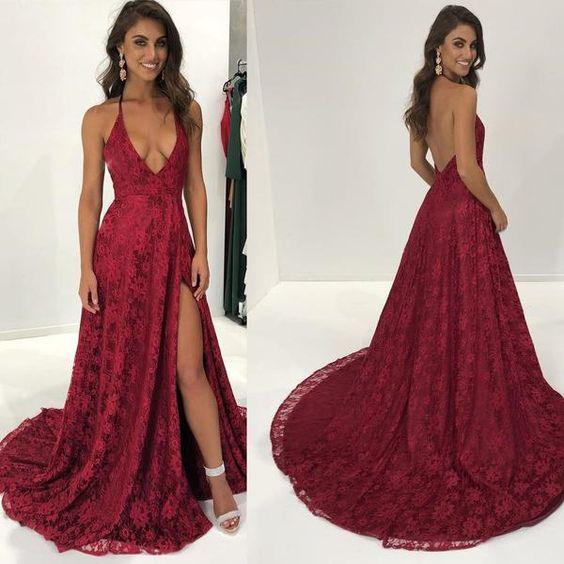 Charming Lace Halter Open Back Side Slit Cheap Sexy Long Prom Dress