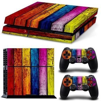 Playstation 4 Original Skin Protective Multicolor Psychedelic Wood
