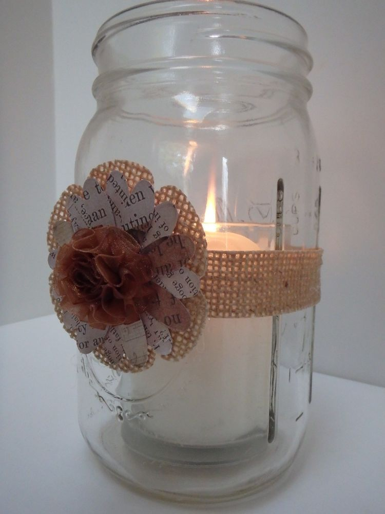 9 Burlap Mason Jar Candle Centerpiece Wedding Party Shower Decorations M30 in Centerpieces & Table Decor | eBay