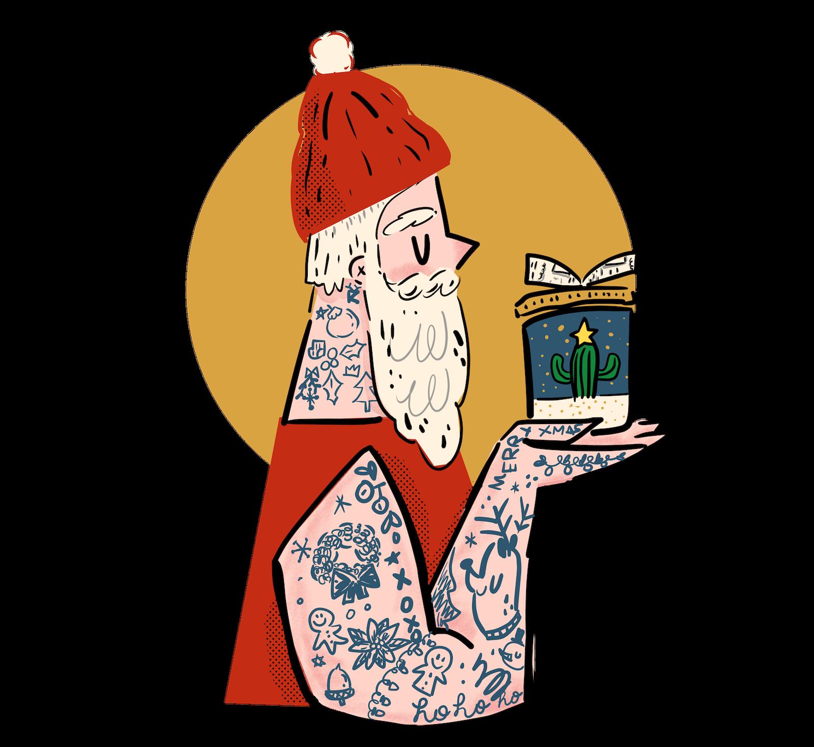 Hipster Santa Art Print  | Society6 thumbnail