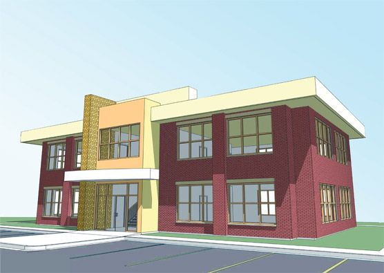 2 story office building design images for Two story office building plans