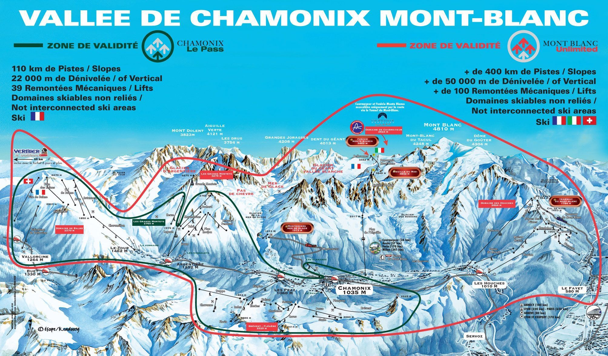 Chamonix Piste Map One Valley  Ski Areas And A LOT Of Off - Map of colorado ski resorts and cities