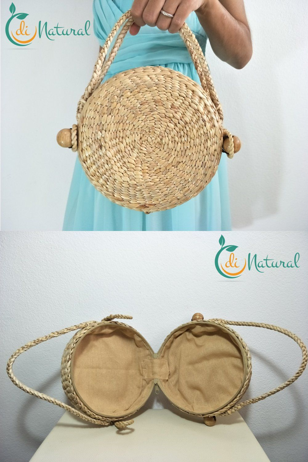 346934f9ff811 Round wicker bag lady. Small straw clutch with zip. Summer seagrass ...