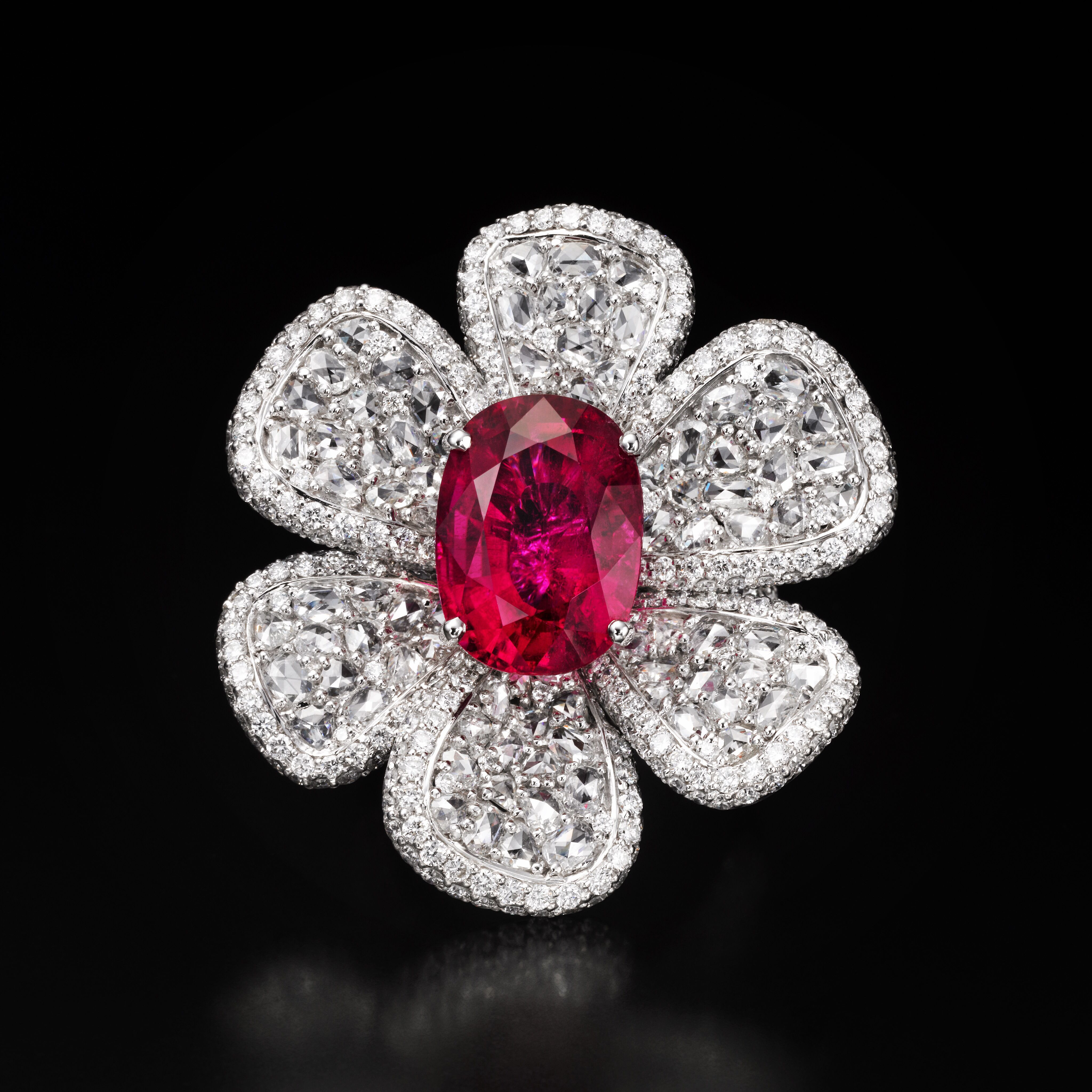 Butani rubellite rosecut diamond ring