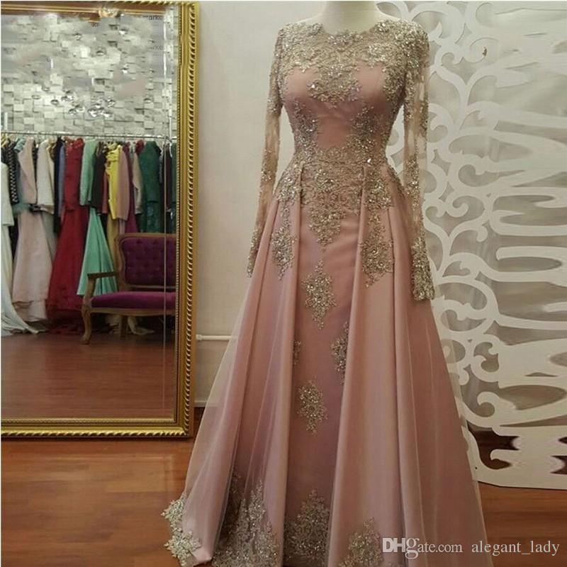 Blush Rose Gold Long Sleeve Evening Dresses for Women Wear Lace Appliques  Crystal Abiye Dubai Caftan 76d56667a3b1