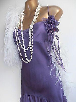 Purple 20's style drop waist charleston flapper dress wi corsage detail Sz 20 18