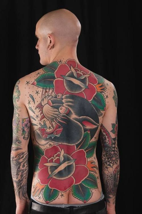 26f2fa728c58a Kyle Fitzpatrick old school traditional backpiece rose panther tattoo