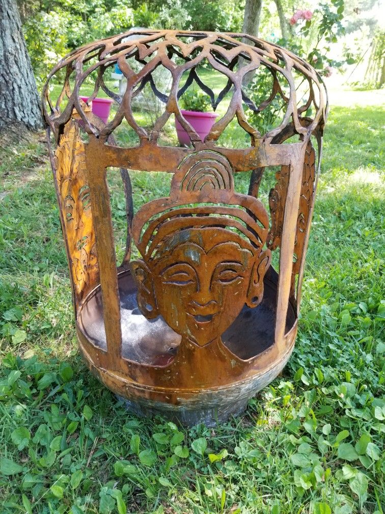 3 Different Face Buddha Lotus Fire Pit Buddahs Om And Lotus