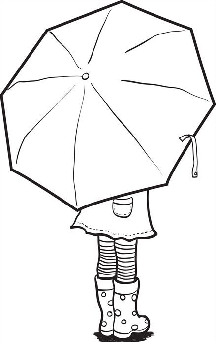 Umbrella Coloring Page vrityskuva lapset sateenvarjo syksy