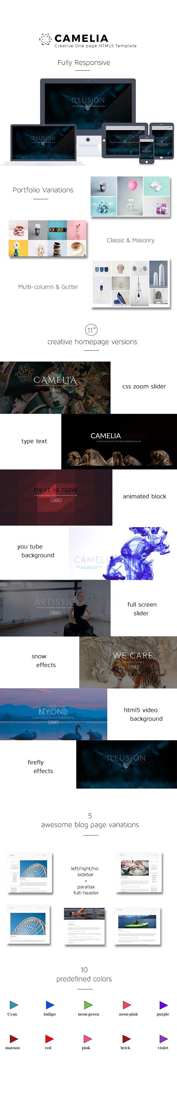 Camelia Responsive One Page Creative Template   Kreativ, Blog und ...