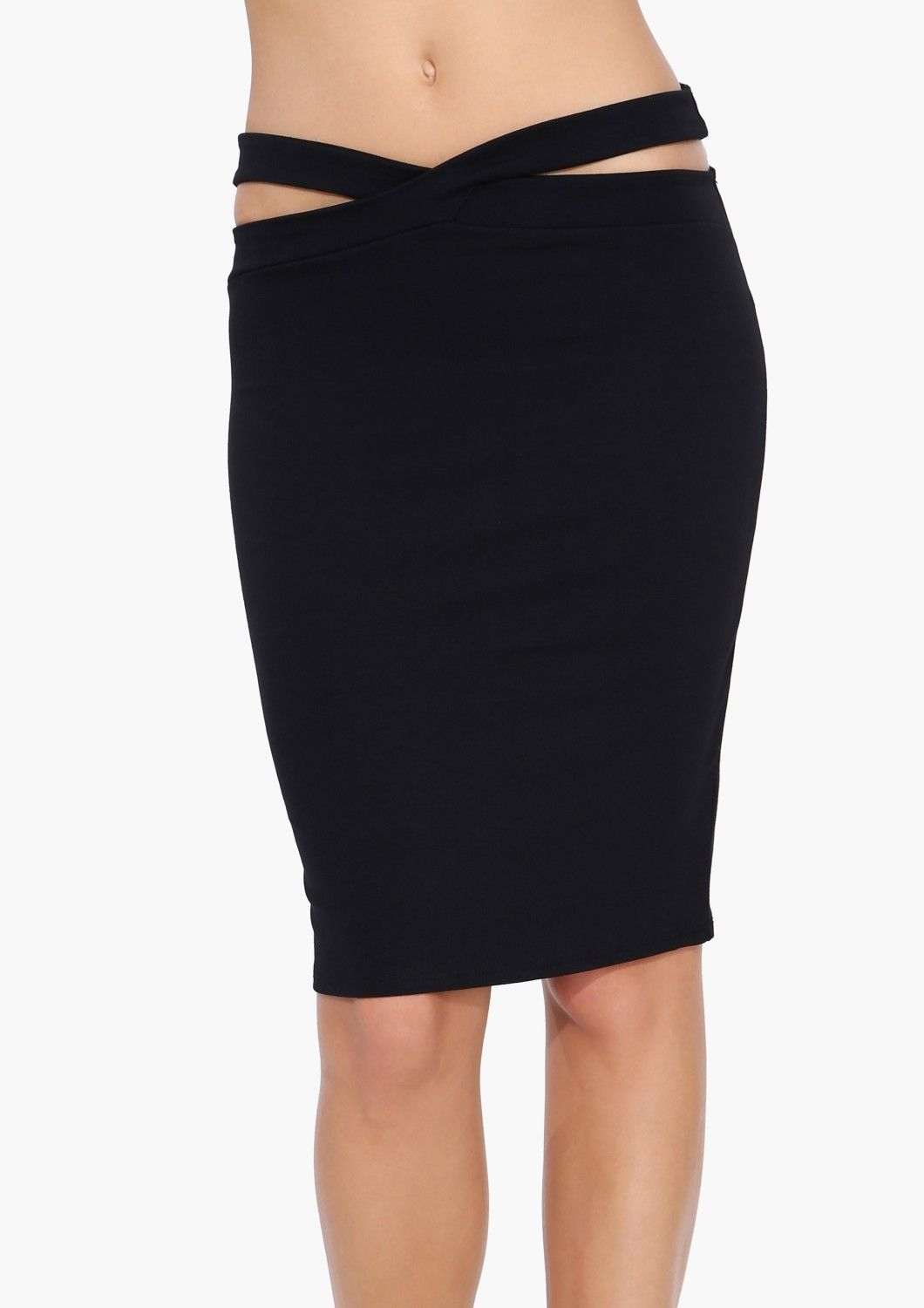 Criss Cross Pencil Skirt in Black   Necessary Clothing
