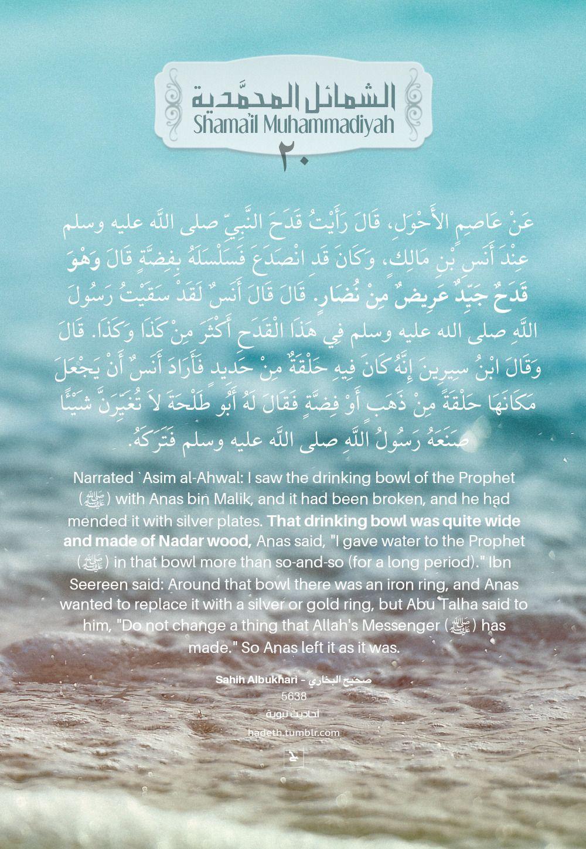 ما جاء في قدح رسول الله صلى الله عليه وسلم 20 The Cup Of Allah S Messenger عن عاصم الأحول قال ر أ ي ت ق د ح الن Ahadith Hadith Of The Day Peace Be Upon Him