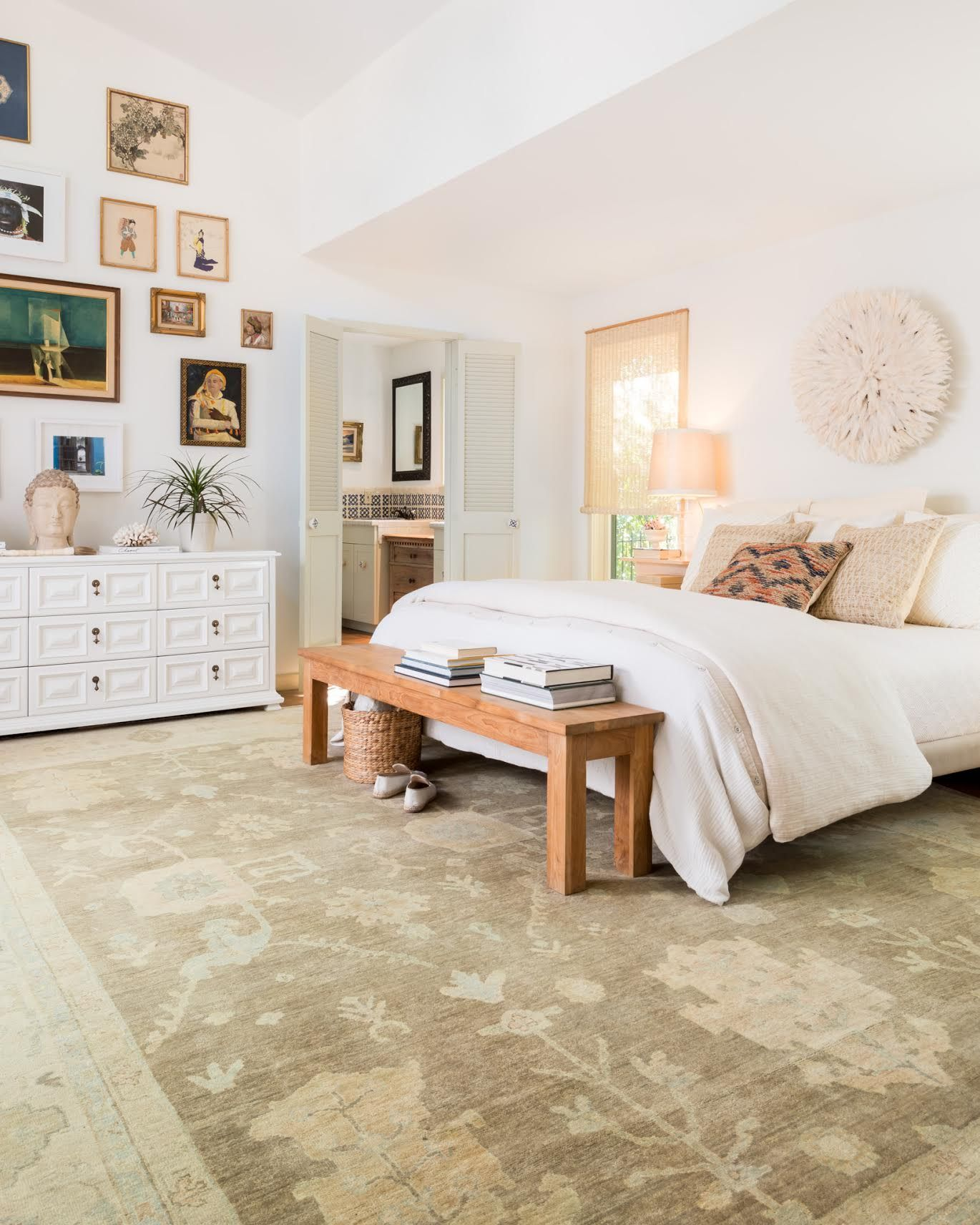 Master bedroom layout  We love this large area rug from Loloius Vincent collection