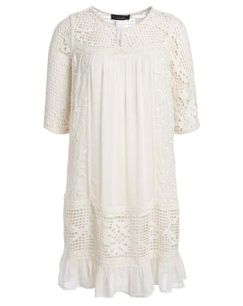 Kleid mit spitze creme