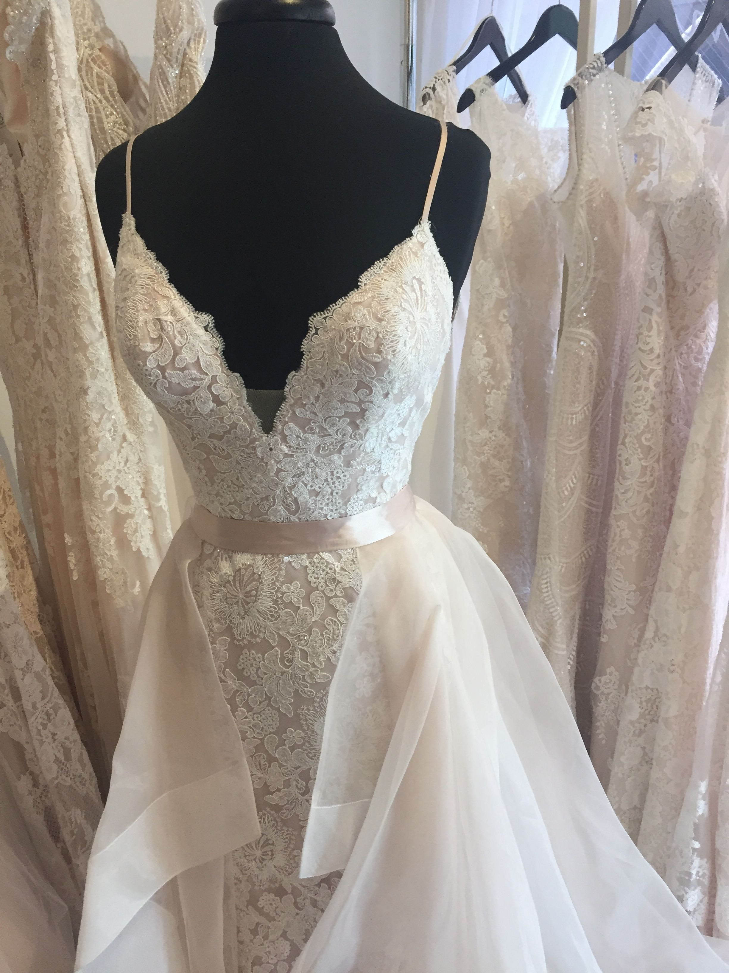 bc255107938f Eva by Eddy K Dreams, overskirt, lace, beaded, low back, sheath at our  location now for Trunk Show!