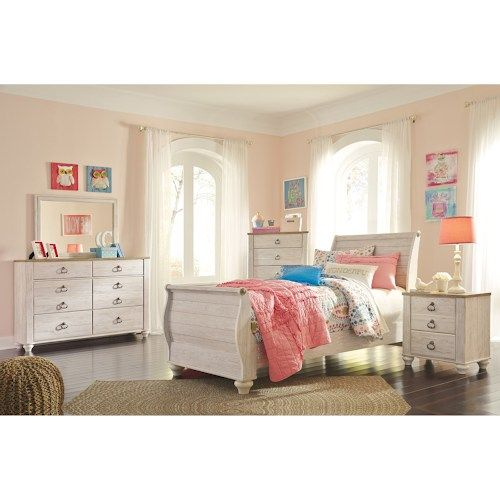 Best Available Lindy S Furniture Willowton Twin Bedroom Group 400 x 300
