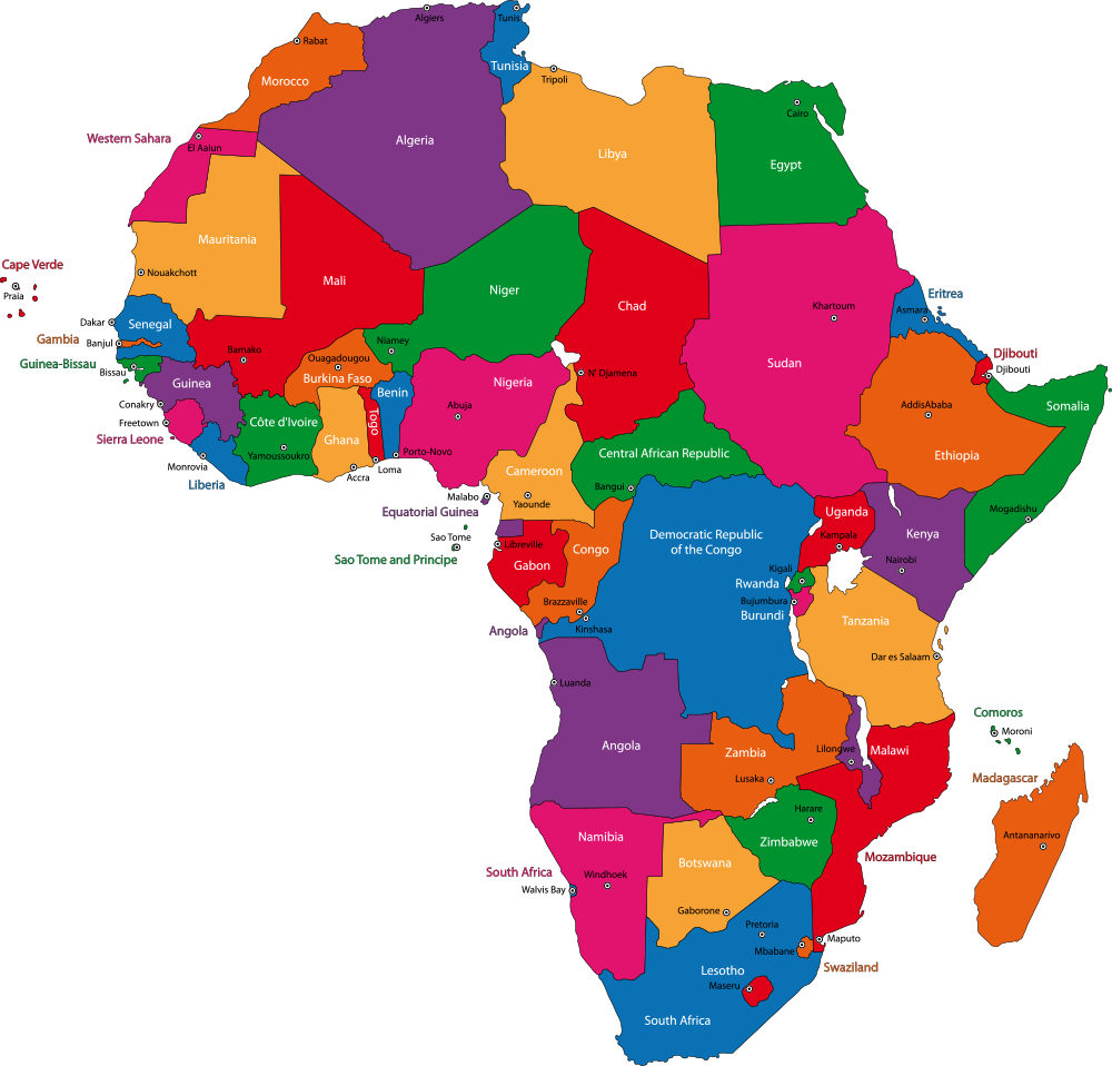 Africa Map With Cities Blank Outline Map Of Africa Africa Map Africa Art Africa