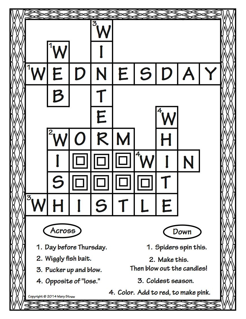 Crossword Puzzles A-Z | Mary Straw-Activity Coloring Pages