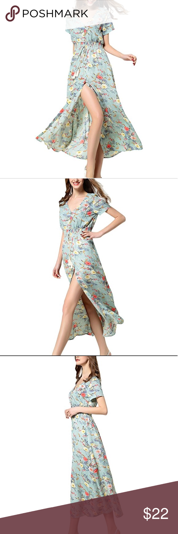 ARANEE Sexy Split Floral Beach Party Maxi Dress S ARANEE Sexy Split Floral Beach Party Maxi Dress  Size Small Chest 36.2-Waist 25.2-Length 51.9 The dress has buttons all the way from top to bottom. You can regulate how big of a split you want or if you want to open up your cleavage area more.  Buttons up all the way from top to bottom. Great option for regulating how low or high you want the cut or cleavage opening.  The dress is made of 100% soft, breathable rayon and is both machine and hand washable. Its colors will not bleed upon washing Aranee Dresses Maxi #area51partyoutfit